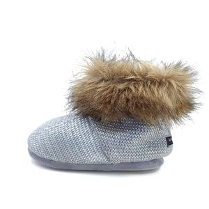 Kensie Girl fur and silver bootie slippers size 1